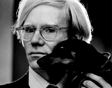Andy Warhol with his dachshund - profile photo on 2B Art & Toys Gallery