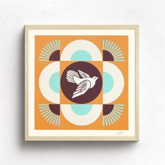 Dove Geometric Blue / White /brown Set Of 3 Prints