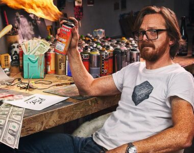 Dotmaster in studio - Profile photo on 2B Art & Toys Gallery