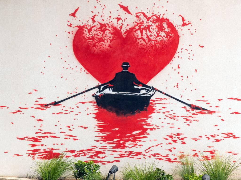 """Nick Walker mural """"Love Bats"""" at 2B Art & Toys G"""