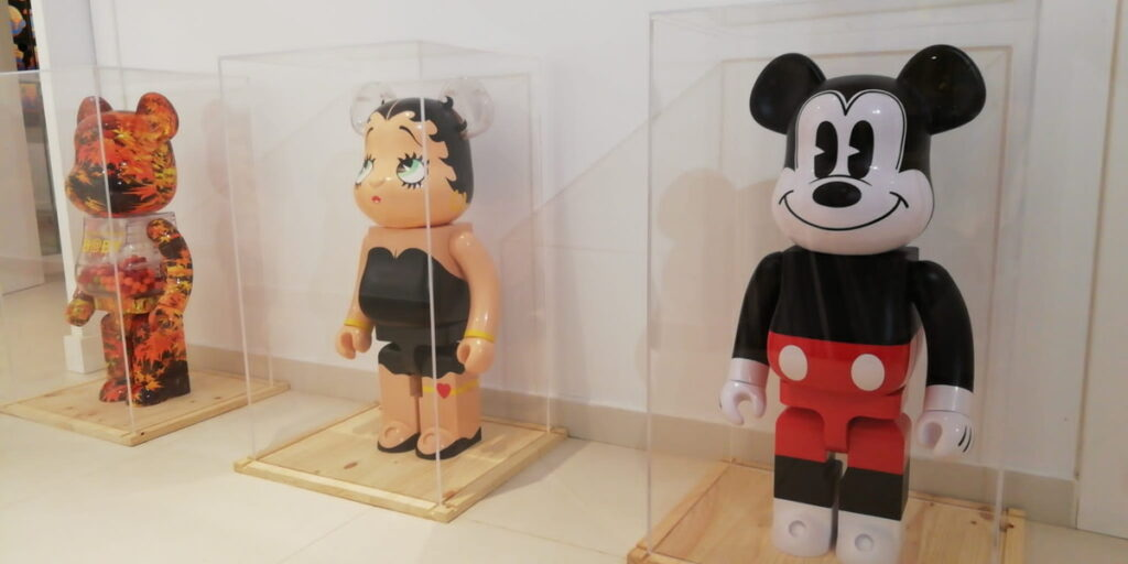 Exhibited Bearbrick figures at 2B Art & Toys Gallery