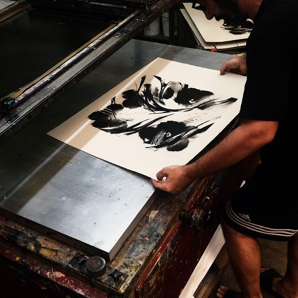 SheOne's BLCKFLWRS print making process