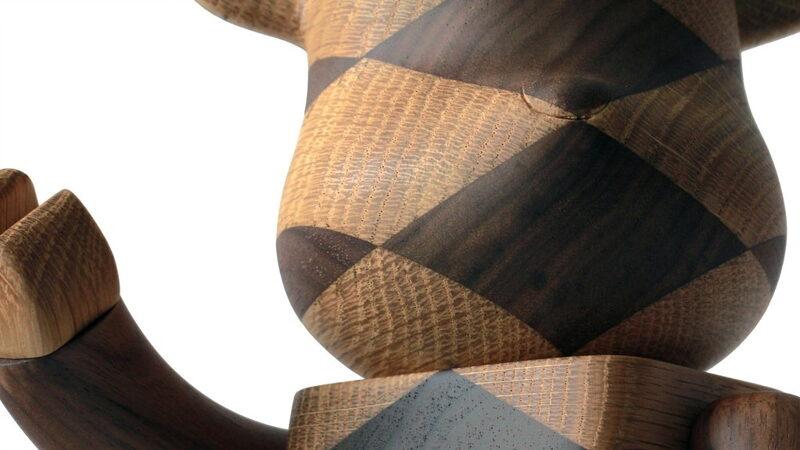 Wooden Bearbrick figure