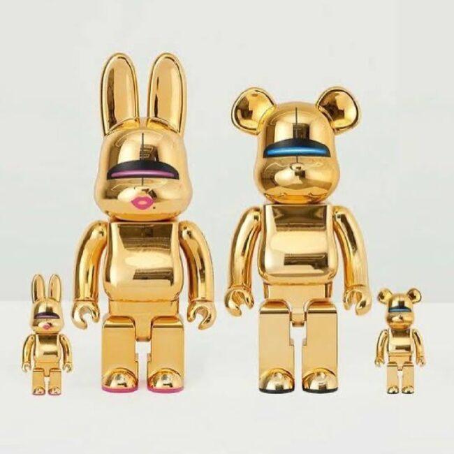 Bearbrick/Rabbrick Sorayama Sexy Robot Set (Gold) 100%/400%