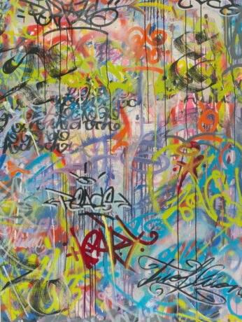 TWOFLÜ, Amor Portals (derecha), mixed media on canvas, 165 x 115 x 3,5 cm, 2019