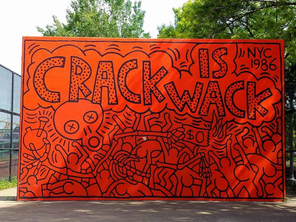 Keith Haring mural Crack is Wack