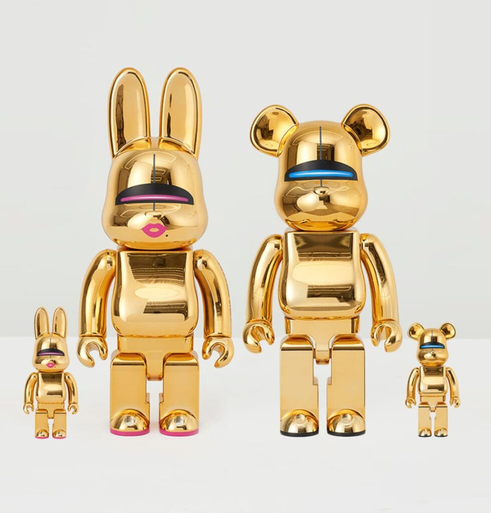 Bearbrick/Rabbrick Sorayama Sexy Robot Set (Gold) at 2B Art & Toys Gallery